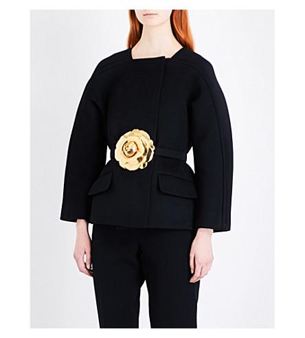 OSCAR DE LA RENTA Bonded sponge wool-blend jacket (Black