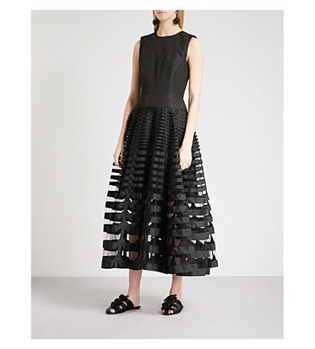 OSCAR DE LA RENTA Fit-and-flare silk gown (Black