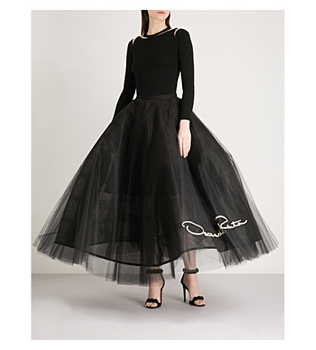 OSCAR DE LA RENTA Logo-embroidered tulle skirt (Black