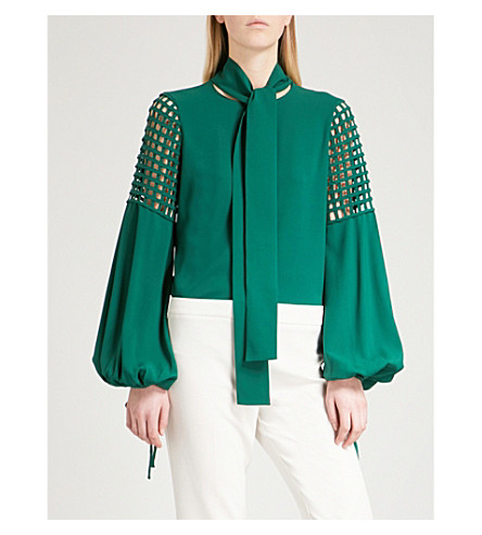 OSCAR DE LA RENTA Neck-tie grid-detail stretch-silk top (Hunter+green`