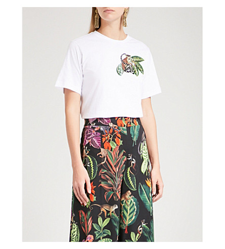 OSCAR DE LA RENTA Monkey sequin-embellished cotton-blend T-shirt (White+w/+multi+em