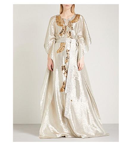 OSCAR DE LA RENTA Sequin-embellished metallic silk-blend kaftan (Silver+w/+gold
