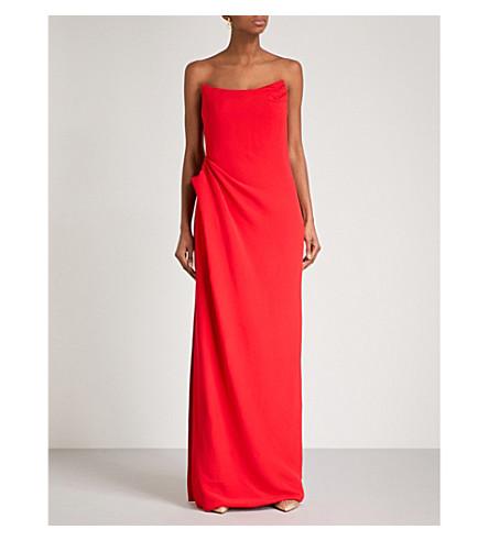 OSCAR DE LA RENTA Strapless crepe column gown (Scarlet