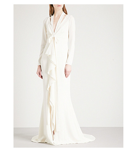 OSCAR DE LA RENTA Draped crepe column gown (Cream
