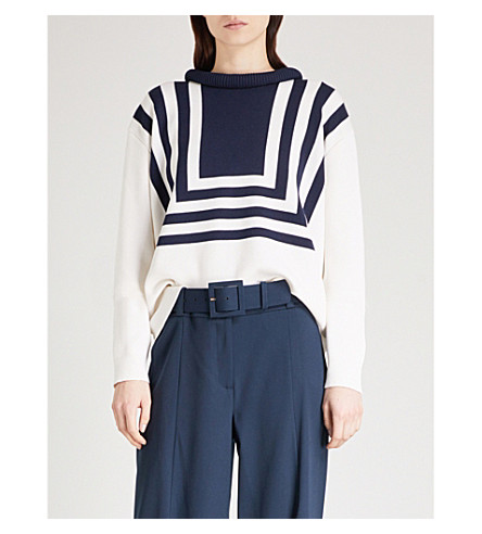 OSCAR DE LA RENTA Striped silk and cotton-blend jumper (Ivory/navy