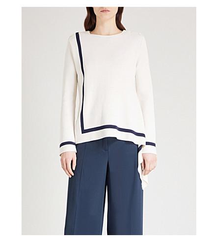 OSCAR DE LA RENTA Asymmetric silk and cotton-blend jumper (Ivory/navy
