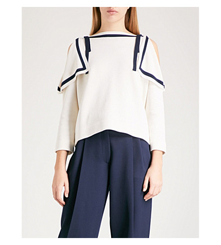 OSCAR DE LA RENTA Boat-neck cold-shoulder silk and cotton-blend jumper (Ivory/navy