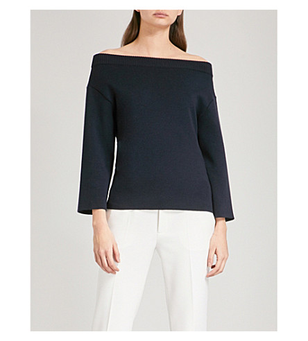 OSCAR DE LA RENTA Lace-up off-the-shoulder wool jumper (Navy/ivory