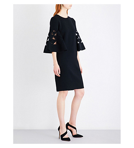 OSCAR DE LA RENTA Cutout bell-sleeve wool-blend dress (Black