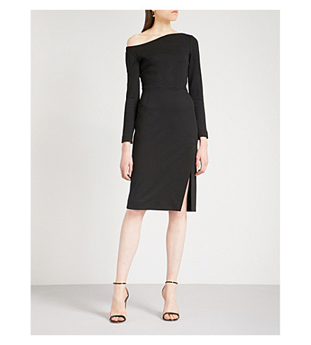OSCAR DE LA RENTA Off-the-shoulder woven dress (Black
