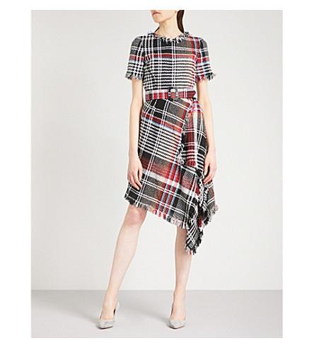OSCAR DE LA RENTA Tartan checked asymmetric tweed dress (Black+multi