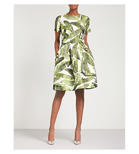 OSCAR DE LA RENTA Belted jacquard mini dress (White green