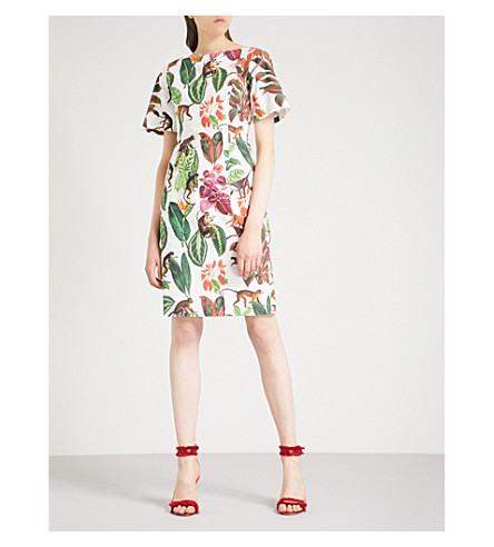 OSCAR DE LA RENTA Jungle-print stretch-cotton dress (White+multi