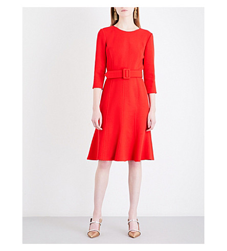 OSCAR DE LA RENTA Self-tie wool-blend dress (Scarlet