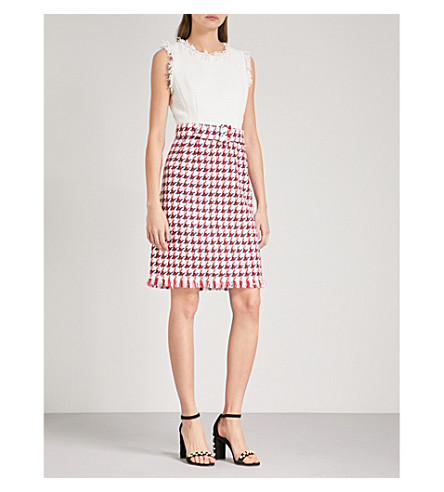 OSCAR DE LA RENTA Houndstooth-panel frayed cotton-blend dress (Ivory+w/+sol+bod