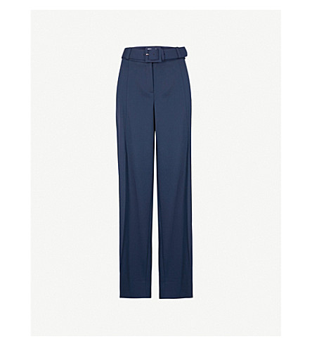 OSCAR DE LA RENTA Wide-leg high-rise stretch-virgin wool trousers (Midnight