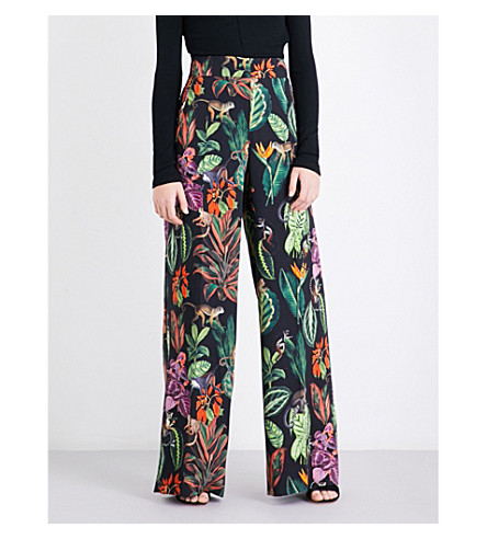 OSCAR DE LA RENTA Printed wide-leg stretch-silk trousers (Black+multi