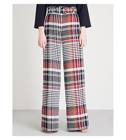 OSCAR DE LA RENTA Checked wide-leg cotton trousers (Black+multi