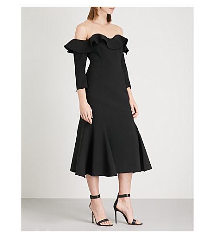 OSCAR DE LA RENTA Cold-shoulder wool-blend midi dress (Black