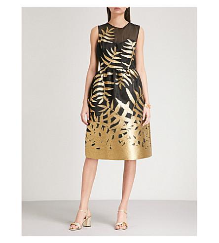 OSCAR DE LA RENTA Metallic fil coupé fit-and-flare taffeta dress (Black+gold