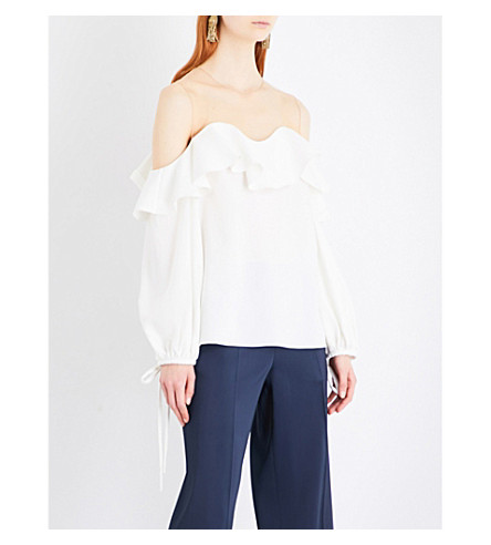 OSCAR DE LA RENTA Cold-shoulder ruffled stretch-silk top (Ivory