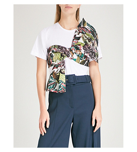 OSCAR DE LA RENTA Jungle front-tie cotton T-shirt (White+w/+multi+sash