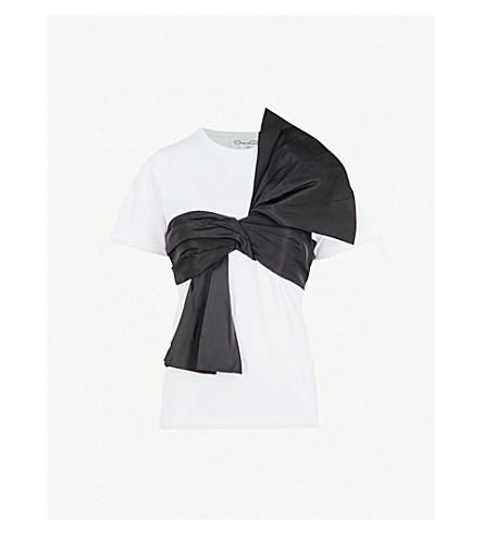 OSCAR DE LA RENTA Sash-detail cotton and silk T-shirt (Wht w/ blk sash