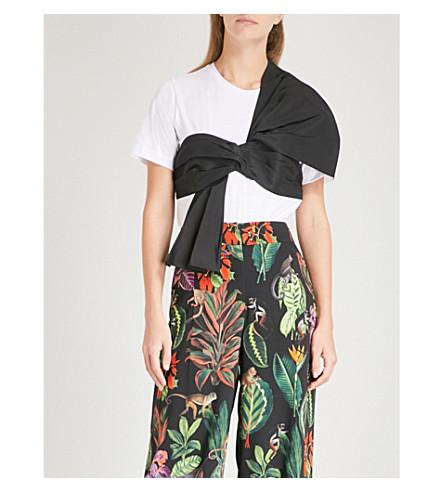 OSCAR DE LA RENTA Sash-detail cotton and silk T-shirt (Wht+w/+blk+sash