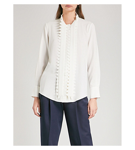 OSCAR DE LA RENTA Zigzag-panel silk-crepe shirt (Ivory