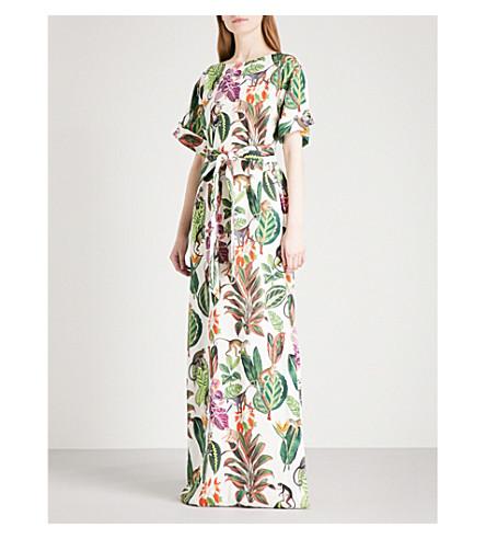 OSCAR DE LA RENTA Jungle-print stretch-silk kaftan (White+multi