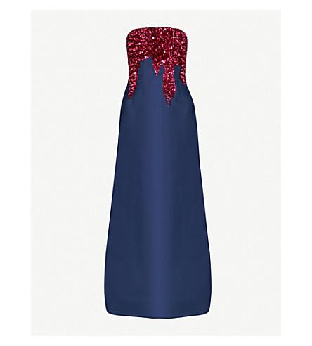 OSCAR DE LA RENTA Sequinned silk gown (Navy w/fuchsia