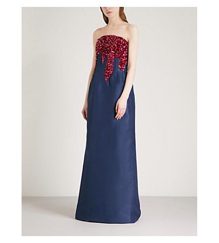 OSCAR DE LA RENTA Sequinned silk gown (Navy+w/fuchsia