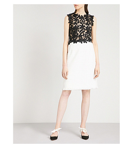 OSCAR DE LA RENTA Lace-panel sleeveless woven dress (Black+white