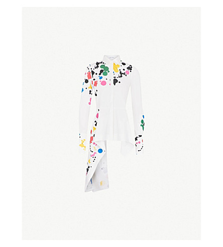 OSCAR DE LA RENTA Paint-splattered cotton-blend shirt (White multi