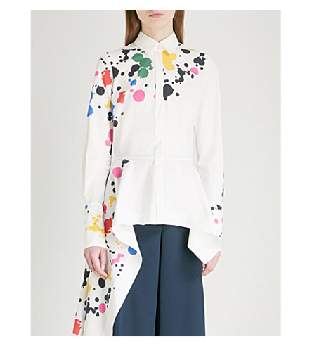 OSCAR DE LA RENTA Paint-splattered cotton-blend shirt (White multi