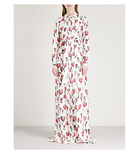 OSCAR DE LA RENTA Floral-print stretch-silk maxi dress (Carmine