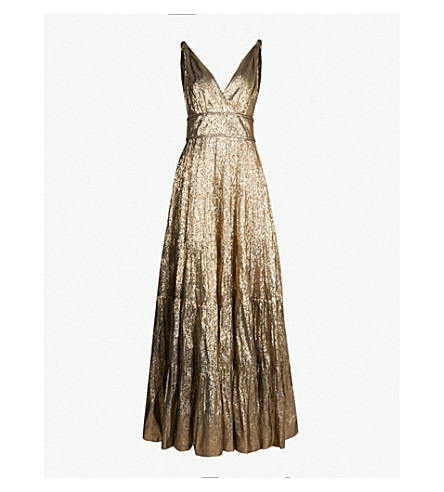 OSCAR DE LA RENTA Metallic silk-blend gown (Gold