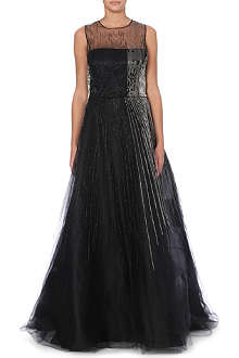 OSCAR DE LA RENTA Beaded silk gown