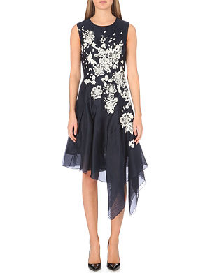 OSCAR DE LA RENTA Asymmetric floral silk dress