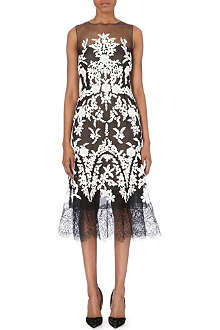 OSCAR DE LA RENTA Sheer-detail embroidered silk dress