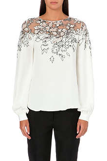 OSCAR DE LA RENTA Floral-embroidered silk top