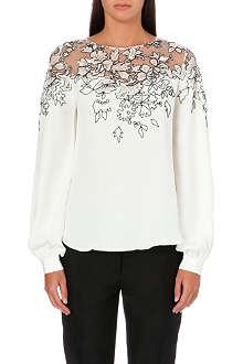 OSCAR DE LA RENTA Floral-embroidered silk top