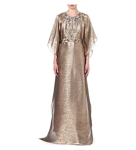 OSCAR DE LA RENTA Metallic silk-blend kaftan (Gold