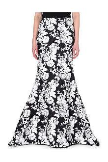OSCAR DE LA RENTA Floral-print cotton-blend maxi skirt