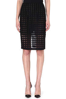 OSCAR DE LA RENTA Perforated silk pencil skirt