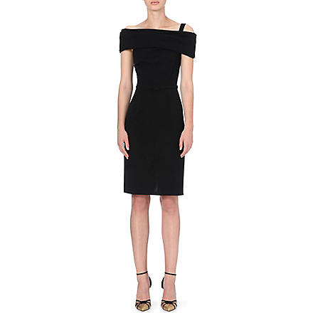 OSCAR DE LA RENTA Shoulder-wrap dress (Black