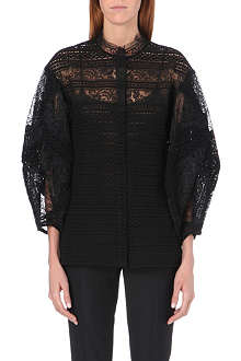 OSCAR DE LA RENTA Puffed-sleeve lace top