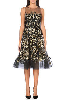OSCAR DE LA RENTA Sheer gold floral print dress
