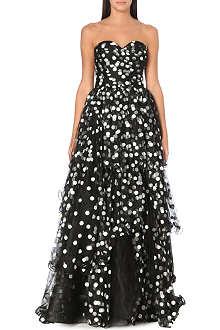 OSCAR DE LA RENTA Spots and ruffles gown