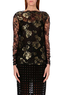 OSCAR DE LA RENTA Chantilly lace embellished top